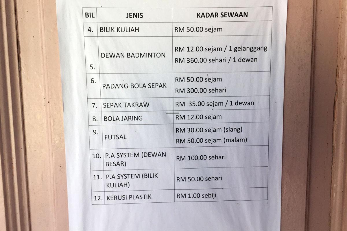 Kadar sewa fasiliti dan kemudahan Jabatan Belia dan Sukan Negeri Terengganu bagi tahun 2018. Kredit Foto - PenyuSukan.com