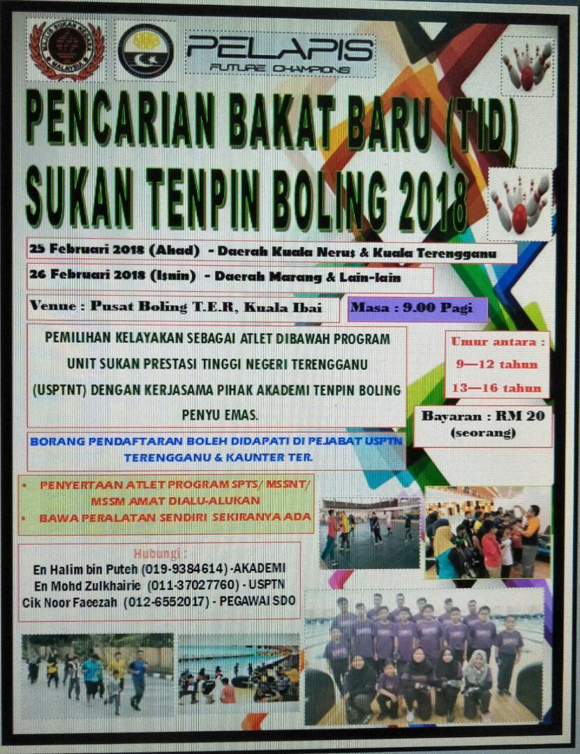 Program pencarian bakat baru sukan tenpin boling untuk program pembangunan sukan ini di bawah kendalian Unit Sukan Prestasi Tinggi Negeri Terengganu dan Akademi Penyu Emas.