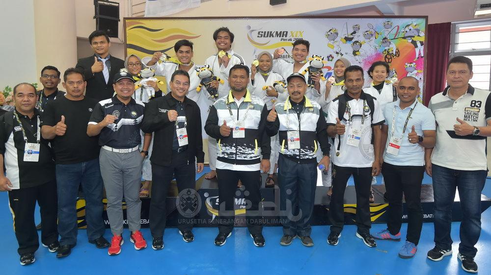 Skuad judo Terengganu Hanelang kekalkan status sebagai kuasa besar sukan judo di negara ini setelah mendominasi podium dengan menuai 13 pingat di pentas Sukan Malaysia(SUKMA) Perak 2018. Kredit Foto - Urusetia Penerangan Darul Iman