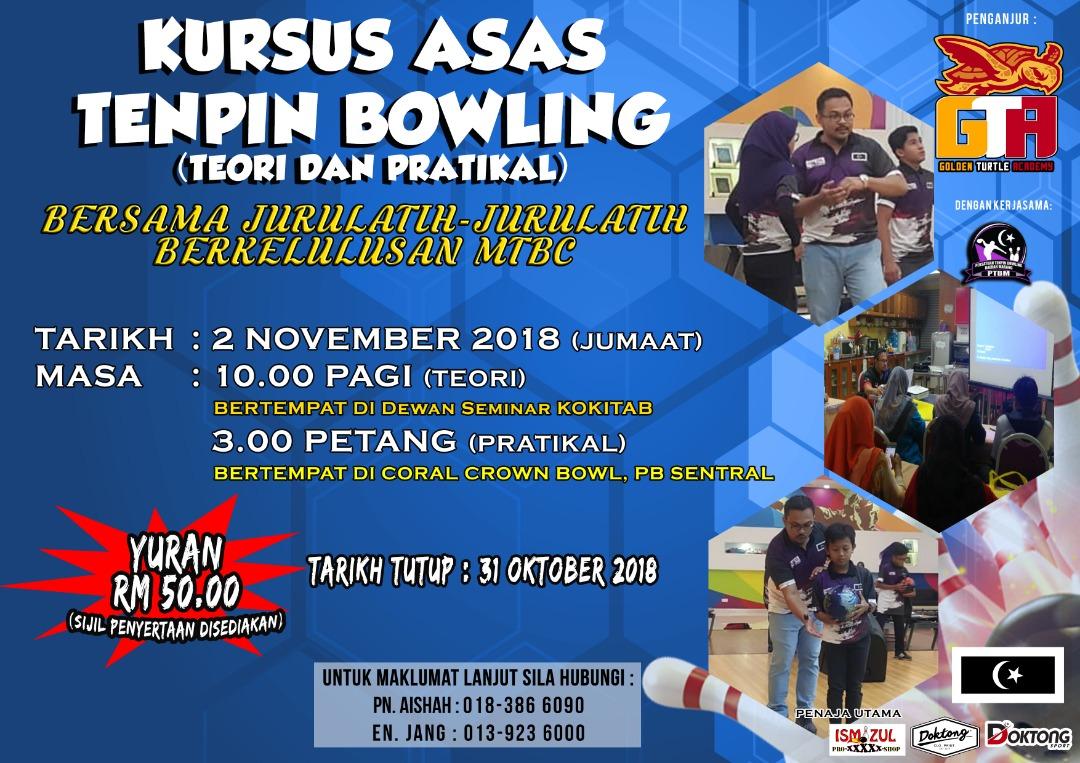Kursus melibatkan pembelajaran teori dan praktikal sukan boling secara terus kepada peserta yang disampaikan oleh jurulatih-jurulatih bertauliah dari Malaysian Tenpin Bowling Congress(MTBC).