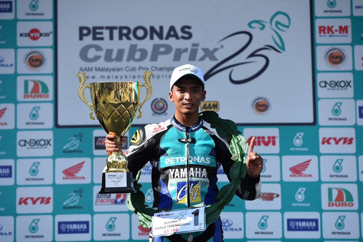 Anak jati Dungun; pelumba Ahmad Afif Amran menjuarai perlumbaan Pusingan 7 Kejuaraan Cub Prix AAM Malaysia PETRONAS di Kompleks Sukan Negeri Gong Badak dengan catatan masa 13:40.445s.