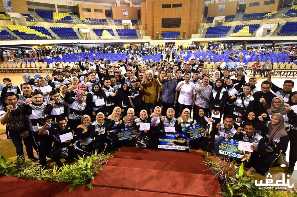 Majlis Penyampaian Insentif SUKMA XIX Perak 2018 yang telah berlansung di Dewan Arena, Stadium Tertutup Kompleks Sukan Negeri Terengganu Gong Badak, Kuala Nerus pada 23 Oktober 2018. Kredit Foto - Urusetia Penerangan Darul Iman (UPDI)