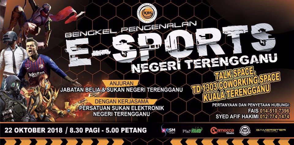 Program Bengkel Pengenalan E-Sports Negeri Terengganu turut menghimpunkan agensi-agensi berkaitan dan penggiat sukan elektronik untuk mendapat gambaran tepat tentang sukan ini yang telah berlansung pada 22 Oktober 2018 bertempat di Talk Space TD1303 Coworking Space, Kuala Terengganu. Kredit Foto - Facebook.com/esmterengganu