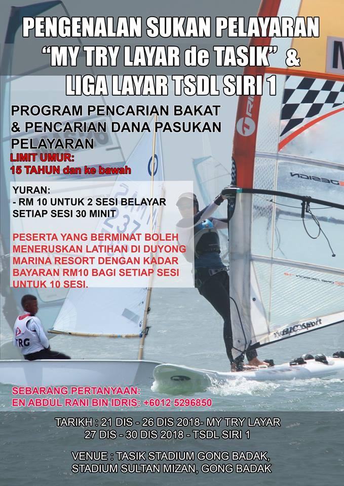 Program 'My Try layar de Tasik' adalah program pengenalan sukan pelayaran kepada orang ramai menjadi serampang dua mata untuk mengutip dana buat persatuan induk sukan air di negeri Terengganu ini. Kredit Foto - https://www.facebook.com/TerengganuWindsurfingSA