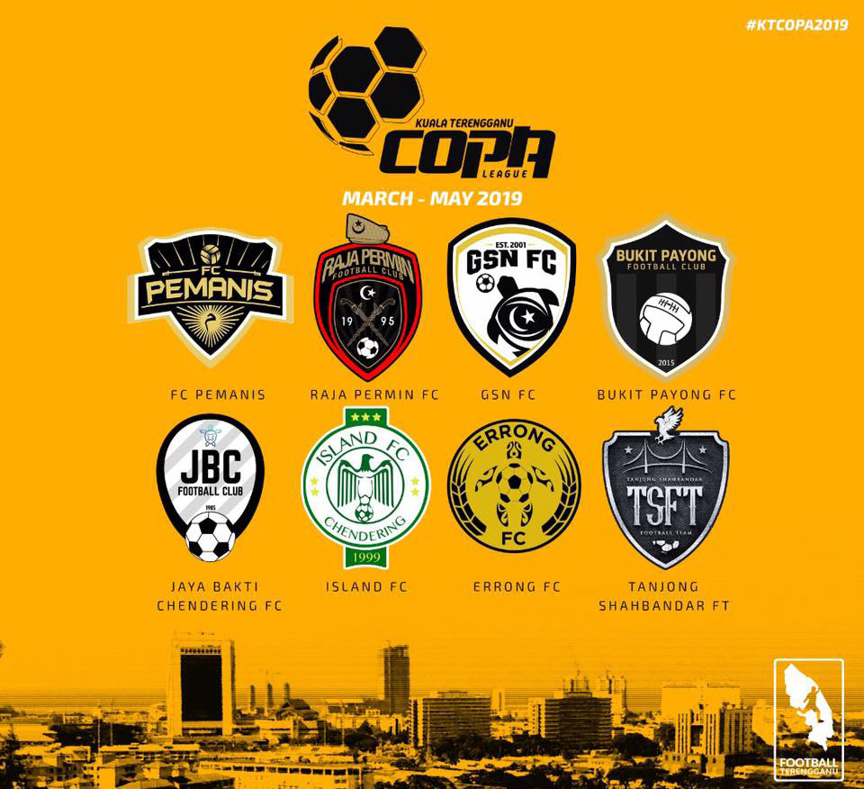 Liga Copa Kuala Terengganu 2019 melibatkan 31 perlawanan selama 8 minggu penganjuran dengan penyertaan 8 pasukan untuk musim ini. Kredit - Facebook.com/LigaKT