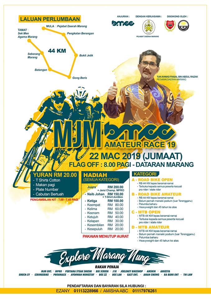 Kalendar penganjuran perlumbaan berbasikal lebuhraya di negeri Terengganu untuk tahun 2019 dibuka dengan jayanya setelah berlansung MJM bmcc Amateur Race 2019. Seramai 285 peserta dari seluruh negeri ini dan juga turut disertai oleh pelumba sejauh dari Pahang dan Kelantan dilihat mampu untuk mengangkat status penganjuran walaupun penganjuran ini mensasarkan pelumba bertaraf amatur. Sebanyak 3 kategori perlumbaan dipertandingkan iaitu Road Bike Open, Road Bike Amateur dan MTB Open dengan jumlah jarak kayuhan sejauh 44 KM.