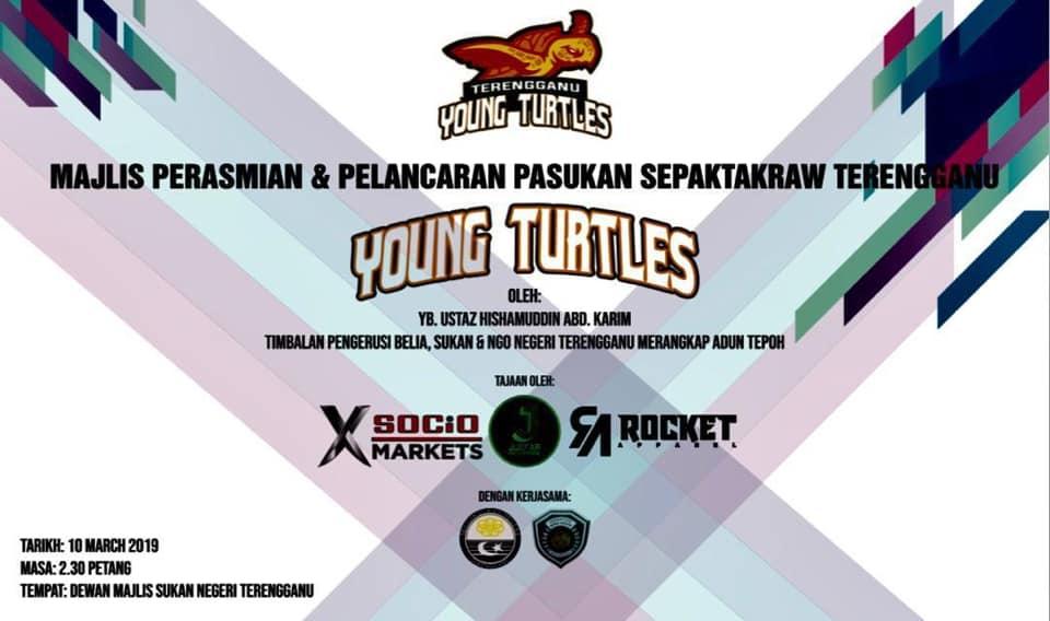 Majlis perasmian dan pelancaran pasukan sepak takraw Terengganu Young Turtles yang telah berlangsung di Dewan Majlis Sukan Negeri Terengganu pada 10 Mac 2019. . Kredit - Facebook.com/Persatuan-Sepaktakraw-Negeri-Terengganu-975840209211272