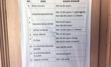 Kadar Sewa Fasiliti Jabatan Belia dan Sukan Negeri Terengganu