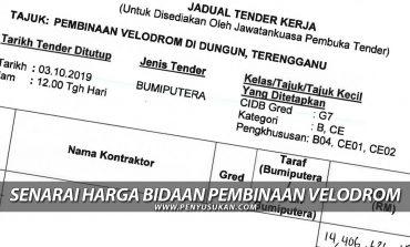 Senarai Harga Bidaan Pembinaan Velodrom Dungun